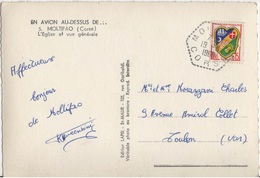 FRANCE N°1232 SEUL SUR CARTE POSTALE OBLITERATION HEXAGONALE TIRETEE MOLTIFAO CORSE - Marcophilie (Lettres)