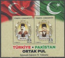 TURKEY, 2017, MNH, JOINT ISSUE WITH PAKISTAN, S/SHEET - Joint Issues