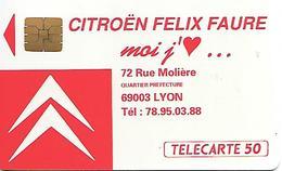 CARTE-a-PUBLIC-F167-50U-SO3-08/91-CITROEN LYON--V°+ 6TGE Lasers 175126-1 Avec Barre-Utilisé- TBE - France