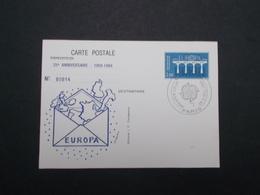 CARTE POSTALE : EUROPA  25ème ANNIVERSAIRE DE LA C.E.P.T AVEC OBLITERATION 1er JOUR - Postal Stamped Stationery