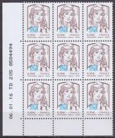 Coin Daté De 9 TP Neufs ** N° 5234(Yvert) France 2018 - Marianne De Ciappa-Kawena Surchargée 0,10 €, TD 205, 06/01/16 - 2013-... Marianne Of Ciappa-Kawena