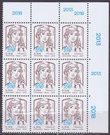 Bloc De 9 TP Neufs ** N° 5234(Yvert) France 2018 - Marianne De Ciappa-Kawena Surchargée 0,10 € - 2013-... Marianne Of Ciappa-Kawena