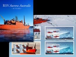 G19 AAT Australian Antarctic Territory Territoire Australien De L'Antarctique RARE!! 4 Blocs RSV Aurora Australis 2018 - Unused Stamps