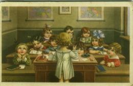 BERTIGLIA SIGNED 1930s  POSTCARD - KIDS AT SCHOOL  ( BG54) - Bertiglia, A.