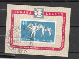 1951  EMISSIONS AVEC SURTAXE   BLOC  N° 32  OBLITERE  COTE 250.00 FRS.  VENDU A 15% 37.00 FRS.   CATALOGUE ZUMSTEIN - Blocks & Kleinbögen