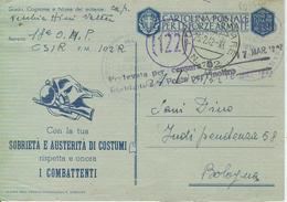 POSTA MILITARE, PM 102R-CSIR-RUSSIA -IN FRANCHIGIA -CENSURA -PER BOLOGNA - - Guerra 1939-45