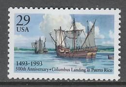 TIMBRE NEUF DES ETATS-UNIS - 500E ANNIV. DU DEBARQUEMENT DE CHRISTOPHE COLOMB A PORTO-RICO N° Y&T 2207 - Christopher Columbus