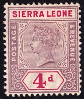 Sierra Leone 1896 4d SG47 - Mint Lightly Mounted - Sierra Leone (...-1960)