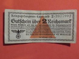 RARE Billet 2 Reichsmark ALLEMAGNE 1939 Camps De Prisonniers WW2 - [ 4] 1933-1945 : Third Reich