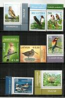 Oiseaux De Lettonie  8 Timbres Neufs ** 2012-2013-2014-2015 Avec Hautes Faciales - Latvia