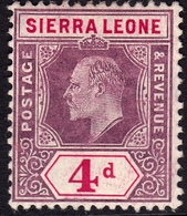 Sierra Leone 1904 4d SG92 - Mint Lightly Mounted - Sierra Leone (...-1960)