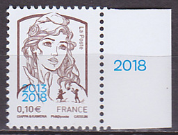 Timbre Neuf ** N° 5234(Yvert) France 2018 - Marianne De Ciappa-Kawena Surchargée 0,10 € - 2013-... Marianne Of Ciappa-Kawena