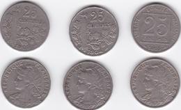 3 Pièces De 25 Centimes - PATEY - 1903 - 1904 - 1905 - Francia