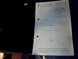 Facture SOUD AUTOGENE Colle Laboratoire A Nouan Le Fuzelier Annee 1955 - Francia