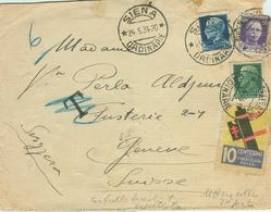 """IMPERIALE Cent.25+30+£.1,25-LETTERA ESTERO 2° PORTO-AL CONTROLLO """"T Tassata"""",annullata,ERINNOFILO FASCIO TIMBRATO-SIENA - 1900-44 Vittorio Emanuele III"""