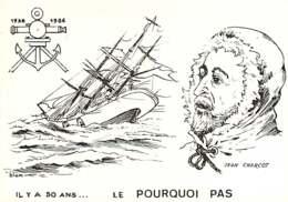 011218C - Illustrateur BLEM BLEMUS VH - Expédition Polaire IL Y A 50 ANS Le POURQUOI PAS Bateau 1936 1986 JEAN CHARCOT - Missions