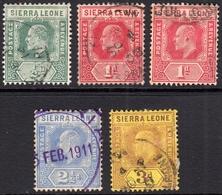 Sierra Leone 1907 Assortment  - Fine Used - Sierra Leone (...-1960)