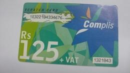 Mauritius-scratch Card-complis-(rs125+vat)-used Card+1card Prepiad Free - Mauritius