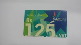Mauritius-scratch Card-complis-(rs125+vat)-plastic-used Card+1card Prepiad Free - Mauritius