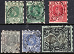 Sierra Leone 1912 Assortment Incl 1/2d Deep Green - Fine Used - Sierra Leone (...-1960)