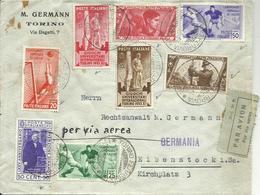 VE3Cb234-Lettera Posta Aerea Per La Germania Mista Calcio + Altre 1.9.1934 - Molto Bella - 1900-44 Victor Emmanuel III