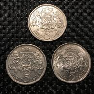 Latvia 5 Lati Silver 1929-1931-1932.  Lot ( 3 Pcs.)  UNC - Latvia