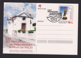 21.- PORTUGAL 2018 POSTAL STATIONERY VIRGIN AND CHURCH OF PRAIA DAS MAÇAS - Cristianismo