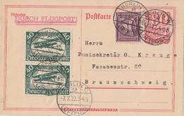 DR Ganzsache Flugpost Minr.P142 Zfr Minr.2x 112,164 Berlin 6.2.22 - Briefe U. Dokumente