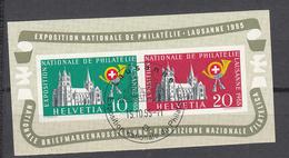 1955  EMISSIONS AVEC SURTAXE   BLOC  N° 35  OBLITERE  COTE 115.00 FRS.  VENDU A 15% 17.00 FRS.   CATALOGUE ZUMSTEIN - Blocks & Sheetlets & Panes