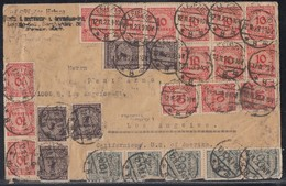 DR Brief Mif Minr.50x 318A,5x 322,5x 325A Leipzig 12.11.23 Gel. In USA - Briefe U. Dokumente