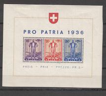 1936  EMISSIONS AVEC SURTAXE   BLOC  N° 8  NEUF*  COTE 80.00 FRS.  VENDU A 15% 12.00 FRS.   CATALOGUE ZUMSTEIN - Blocks & Sheetlets & Panes