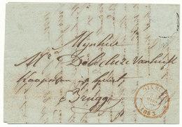 1853 BRIEF VAN DIXMUDE NAAR BRUGGE POSTZEGEL VERWIJDERD ZIE SCAN(S) - 1849-1865 Medallions (Other)