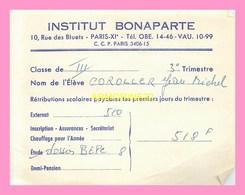 INSTITUT BONAPARTE PARIS  FACTURE D INSCRIPTION AU Dossier BEPC - Francia