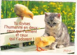 CPM  Thème Animaux Chat Avec Poussins Cat Réf 2216 - Katten