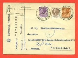 STORIA POSTALE PER L'ESTERO-CARTOLINA ELETTORALE RACCOMANDATA AEREA-DA VIVERONE PER LE BERMUDA-SIRACUSANA - 6. 1946-.. Republic