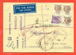 STORIA POSTALE PER L'ESTERO-CARTOLINA ELETTORALE RACCOMANDATA AEREA-DA BORGOSESIA PER L'AUSTRALIA-SIRACUSANA - 6. 1946-.. Repubblica
