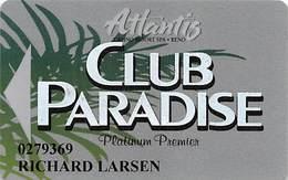 Atlantis Casino Reno, NV Slot Card - No Text Over Mag Stripe - Cartes De Casino