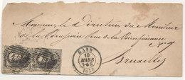 1859 BRIEF VAN GAND NAAR BRUXELLES MET PAAR COB 10A? ZIE SCAN(S) - 1849-1865 Medallions (Other)