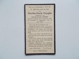 Oud Bidprentje: Martha-Maria HUYGHE Echtg. Camille MAHIEU, Ghistel 6/12/1903 - Oudenburg 29/6/1934 - Obituary Notices