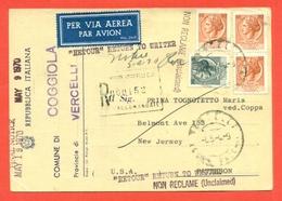 STORIA POSTALE PER L'ESTERO-CARTOLINA ELETTORALE RACCOMANDATA AEREA-DA COGGIOLA PER GLI USA-SIRACUSANA - 6. 1946-.. Repubblica