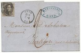 1860 BRIEF VAN GAND NAAR KERKHOVE MET COB 10A? AANKOMST AVELGHEM ZIE SCAN(S) - 1849-1865 Medallions (Other)