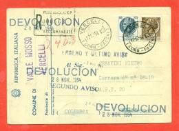 STORIA POSTALE PER L'ESTERO-CARTOLINA ELETTORALE RACCOMANDATA AEREA-DA VALLE MOSSO PER CALI'-SIRACUSANA - 6. 1946-.. Republic