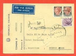 STORIA POSTALE PER L'ESTERO-CARTOLINA ELETTORALE RACCOMANDATA AEREA-DA ARBORIO PER L'ARGENTINA-SIRACUSANA - 6. 1946-.. Repubblica