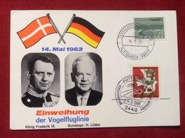 Karte Einweihung Der Vogelfluglinie 1963 König Frederik IX. Bundespräsident H. Lübke - Storia Postale
