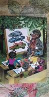 Mecki. Hedgehog - School - Old Postcard - Beetle Car - Mecki
