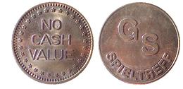 01965 GETTONE TOKEN JETON GAMING PLAY MACHINE SLOT GS SPIELTREFF NO CASH VALUE - Germany