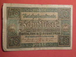 10 Mark Reichsbanknote 1920 - MISE A PRIX 0,50€ De Tout Mes Billets ! Pensez A Regrouper Vos Achats ! - 10 Mark