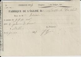 BELLOU LE TRICHARD FABRIQUE DE L EGLISE RECU ANNEE ANNEE 1876 - France