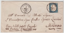 ITALIA USED COVER 1/03/1860 SASSONE 3 BERGAMO TO MILANO - 1861-78 Victor Emmanuel II