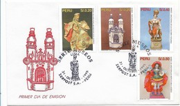 PERU 1995 MUSEUMS ART HISTORY CULTURE SET OF 4 VALUES ON FDC SCOTT 1121-24 - Perù